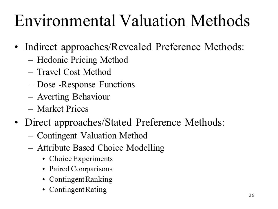 Environmental Valuation Methods