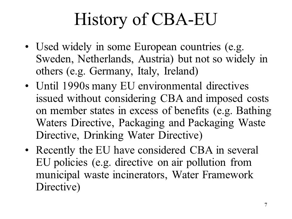 History of CBA-EU