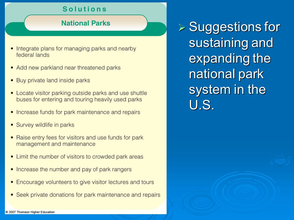 Suggestions for sustaining and expanding the national park system in the U.S.