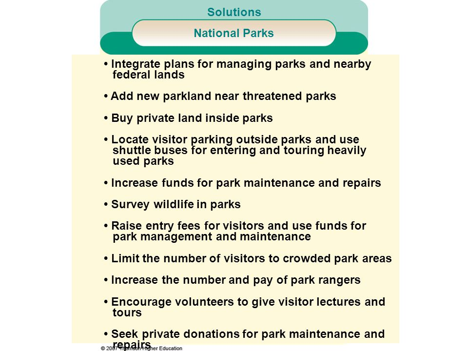 • Integrate plans for managing parks and nearby federal lands