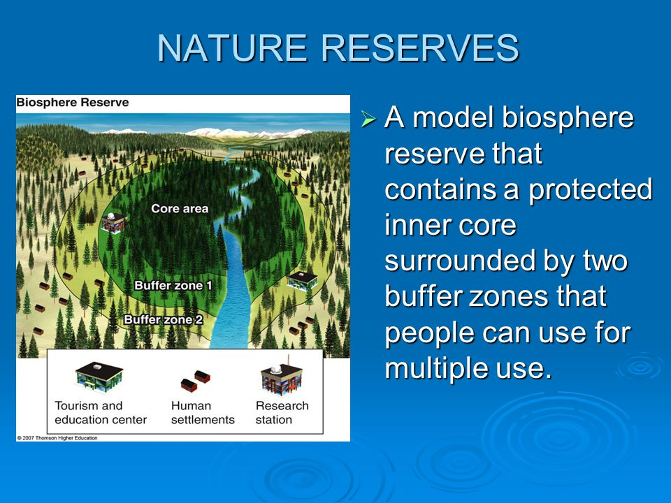 NATURE RESERVES A model biosphere reserve that contains a protected inner core surrounded by two buffer zones that people can use for multiple use.