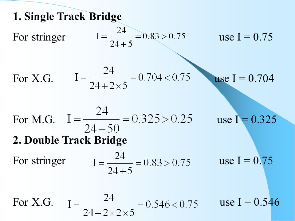 1. Single Track Bridge For stringer use I = 0.75.
