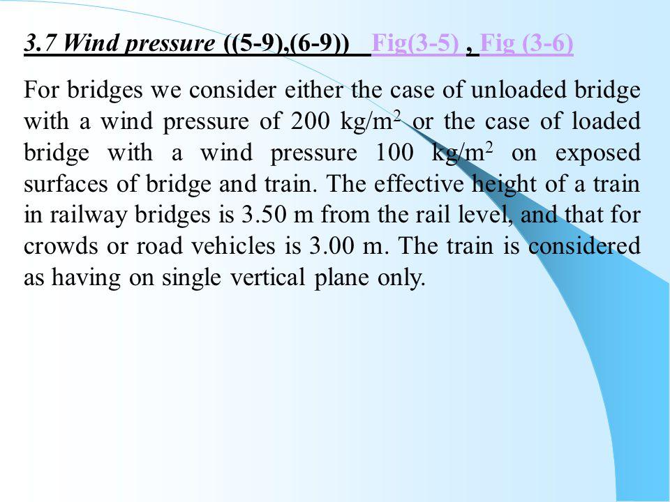 3.7 Wind pressure ((5-9),(6-9)) Fig(3-5) , Fig (3-6)