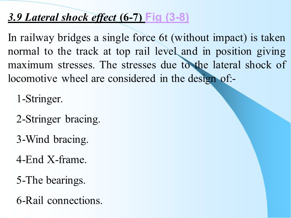 3.9 Lateral shock effect (6-7) Fig (3-8)