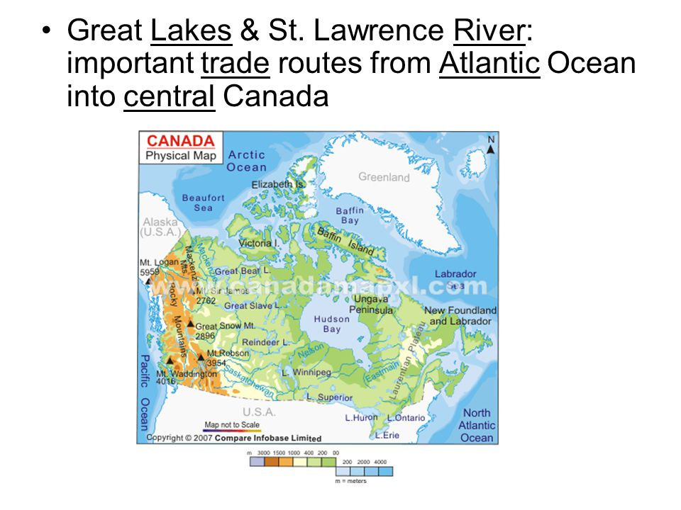 Great Lakes & St. Lawrence River: important trade routes from Atlantic Ocean into central Canada