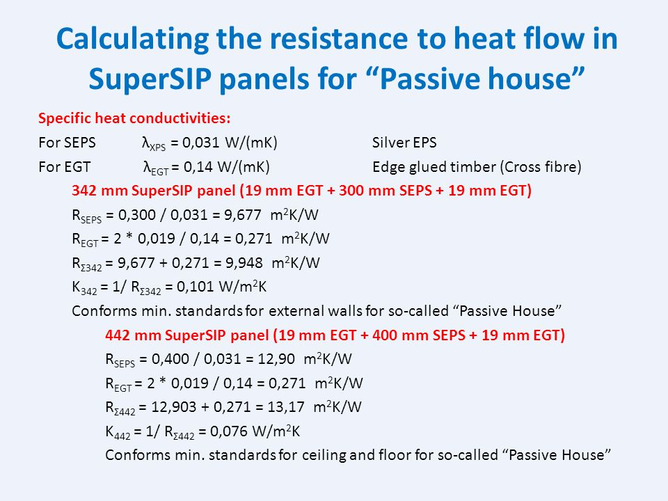 Calculating the resistance to heat flow in SuperSIP panels for Passive house
