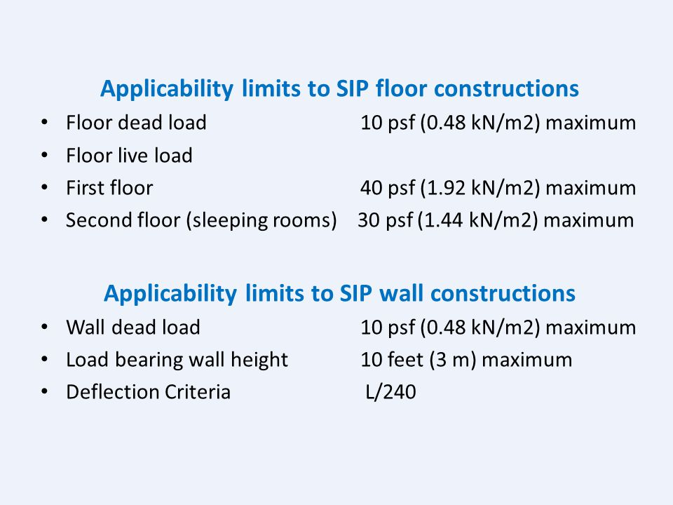 Applicability limits to SIP floor constructions
