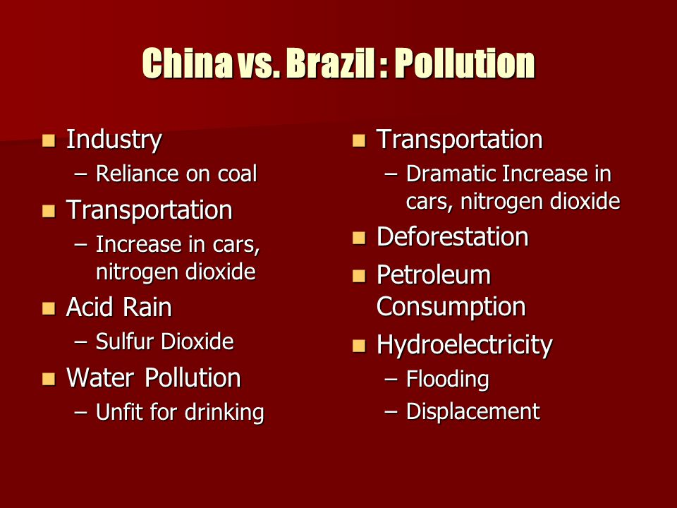 China vs. Brazil : Pollution