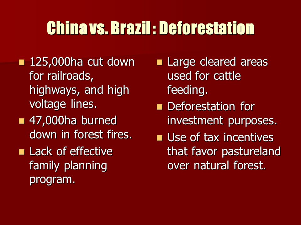 China vs. Brazil : Deforestation