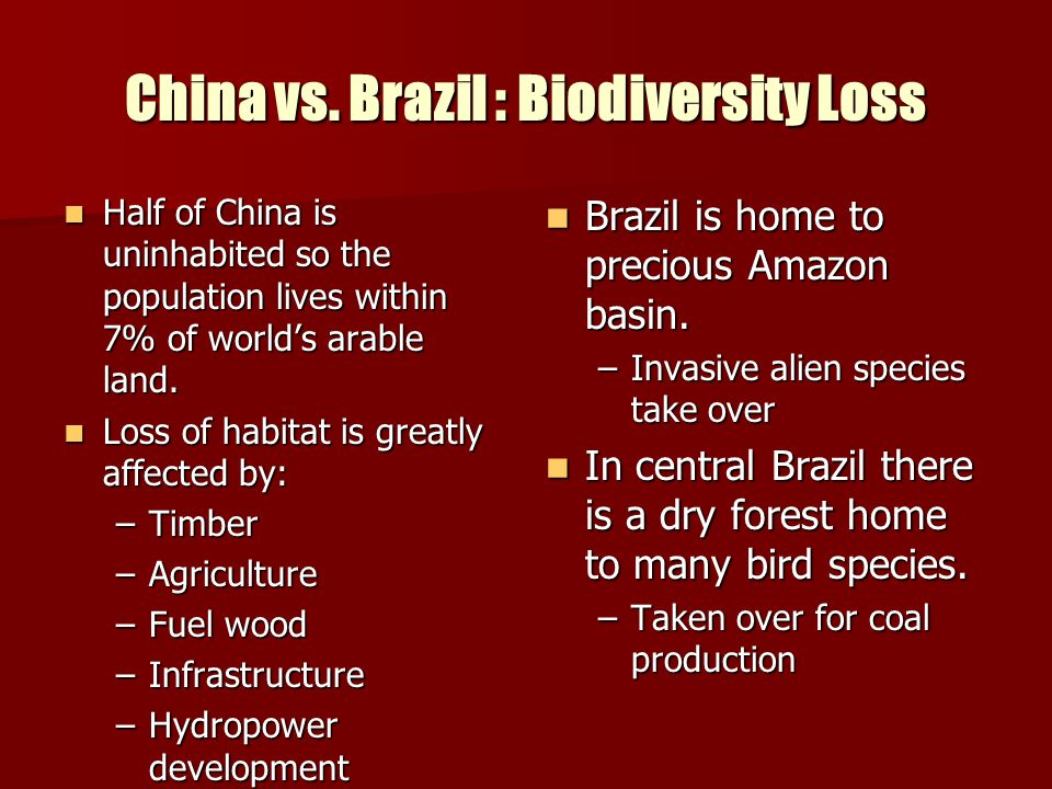 China vs. Brazil : Biodiversity Loss
