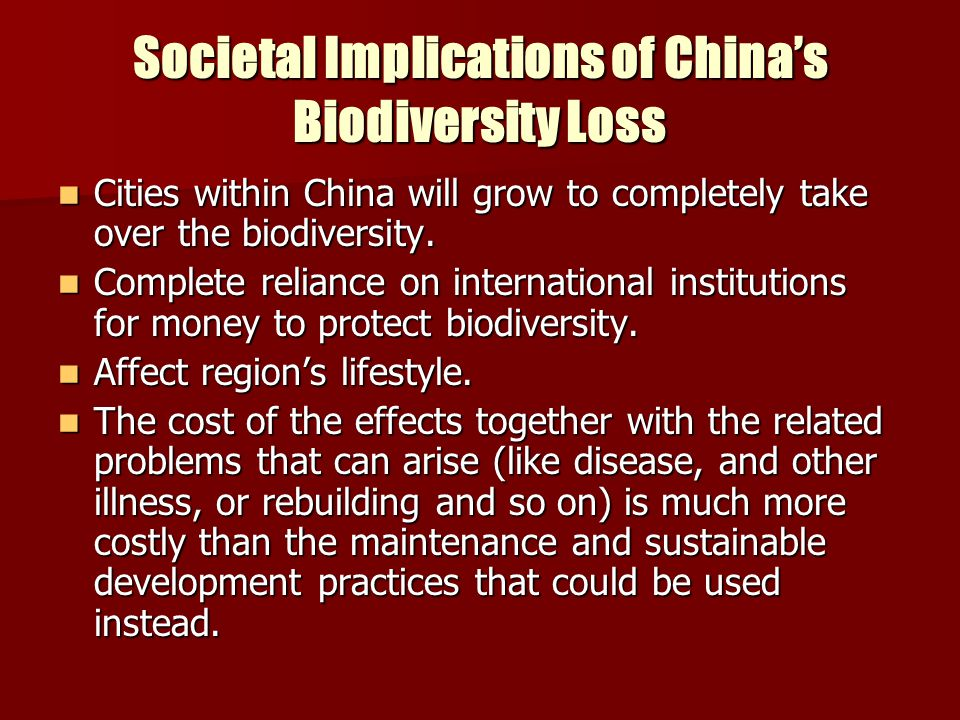 Societal Implications of China's Biodiversity Loss