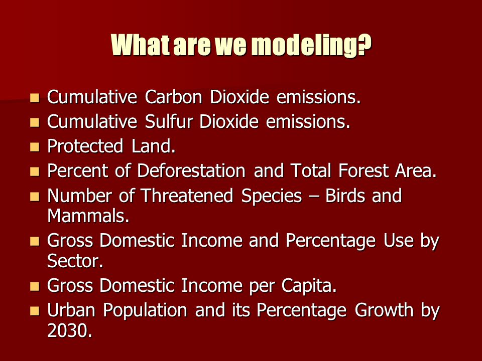 What are we modeling Cumulative Carbon Dioxide emissions.