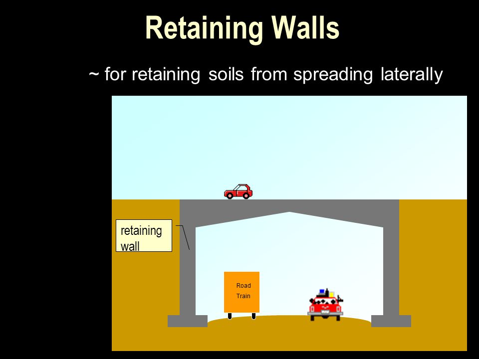Retaining Walls ~ for retaining soils from spreading laterally