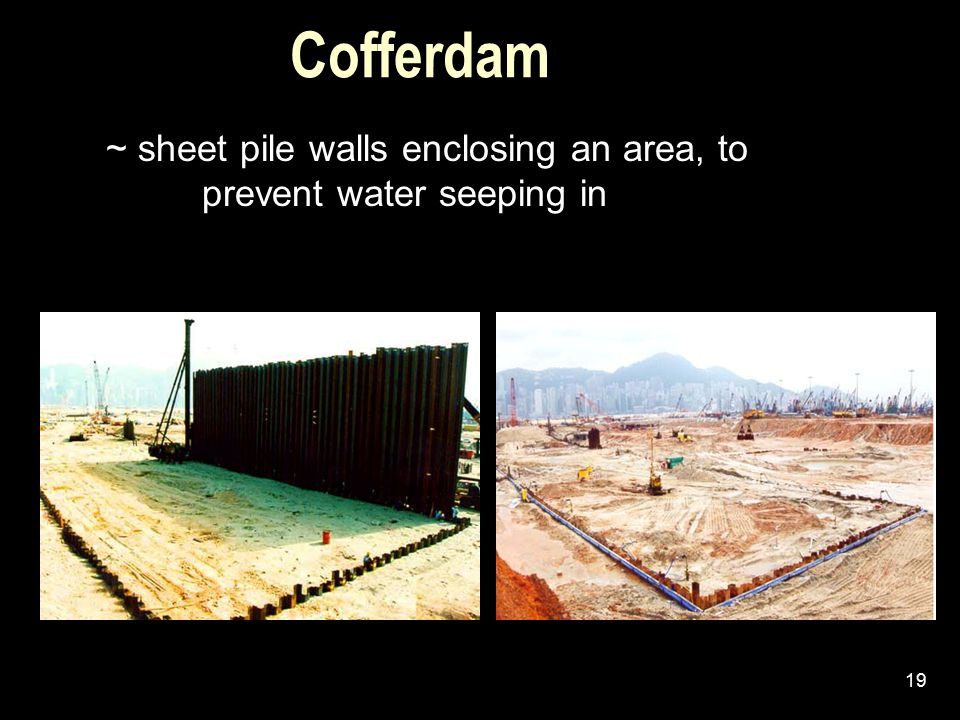 Cofferdam ~ sheet pile walls enclosing an area, to prevent water seeping in.