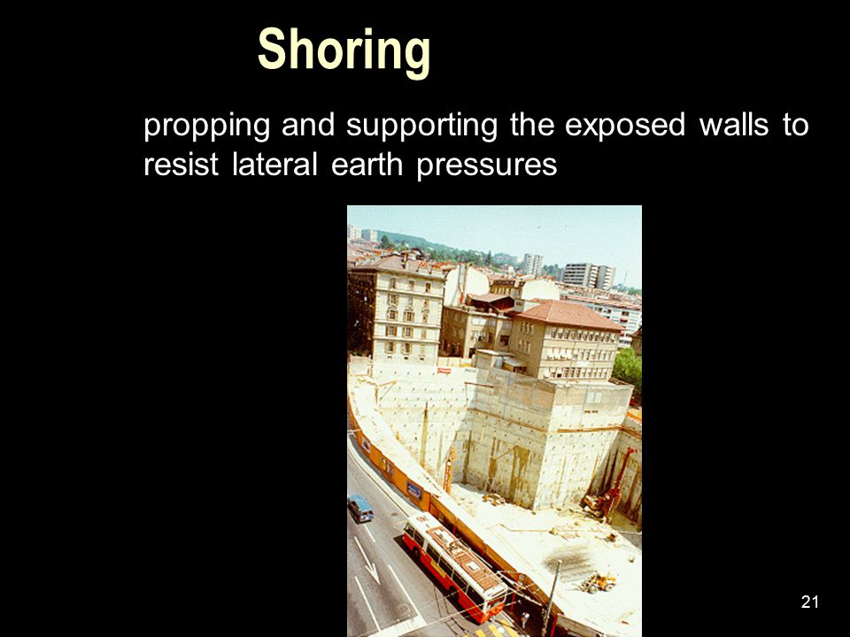 Shoring propping and supporting the exposed walls to resist lateral earth pressures
