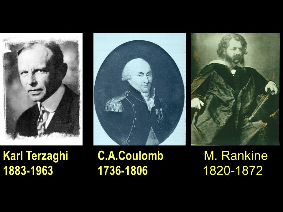 Karl Terzaghi 1883-1963 C.A.Coulomb 1736-1806 M. Rankine 1820-1872