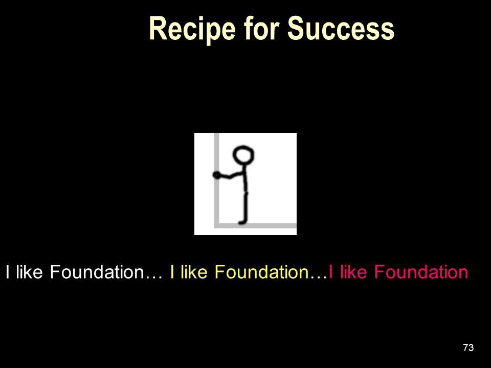 Recipe for Success I like Foundation… I like Foundation…I like Foundation