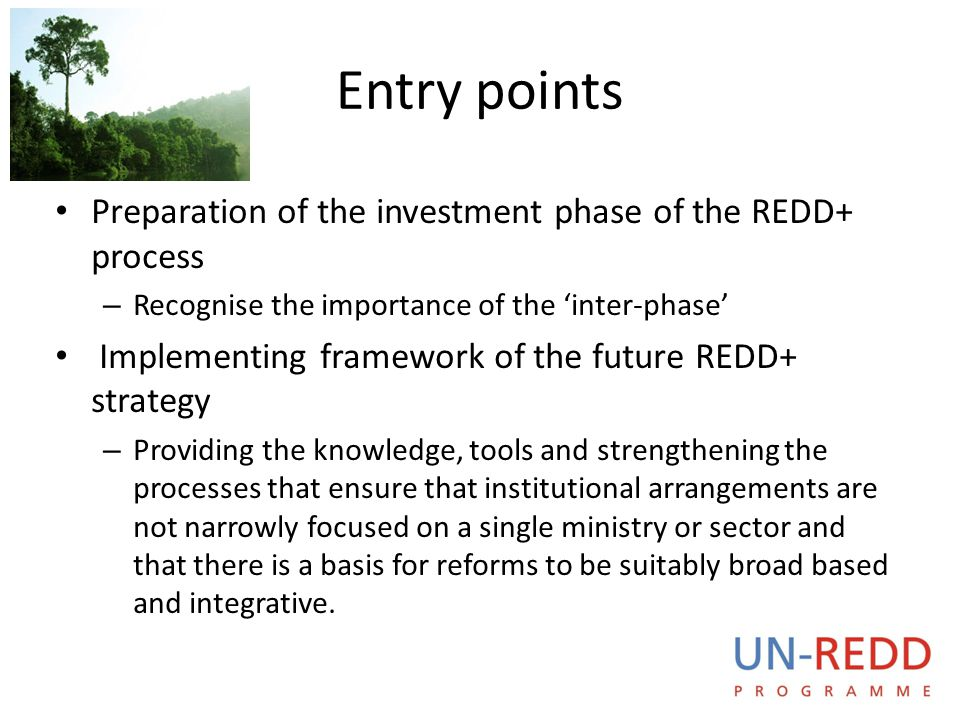 Entry points Preparation of the investment phase of the REDD+ process