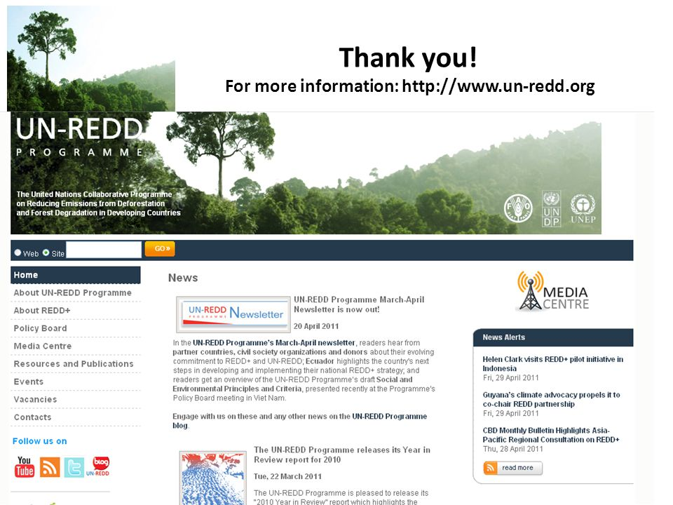 Thank you! For more information: http://www.un-redd.org