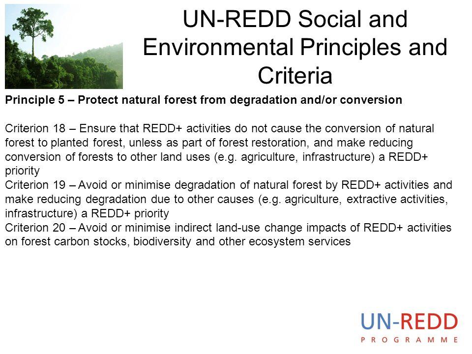 UN-REDD Social and Environmental Principles and Criteria
