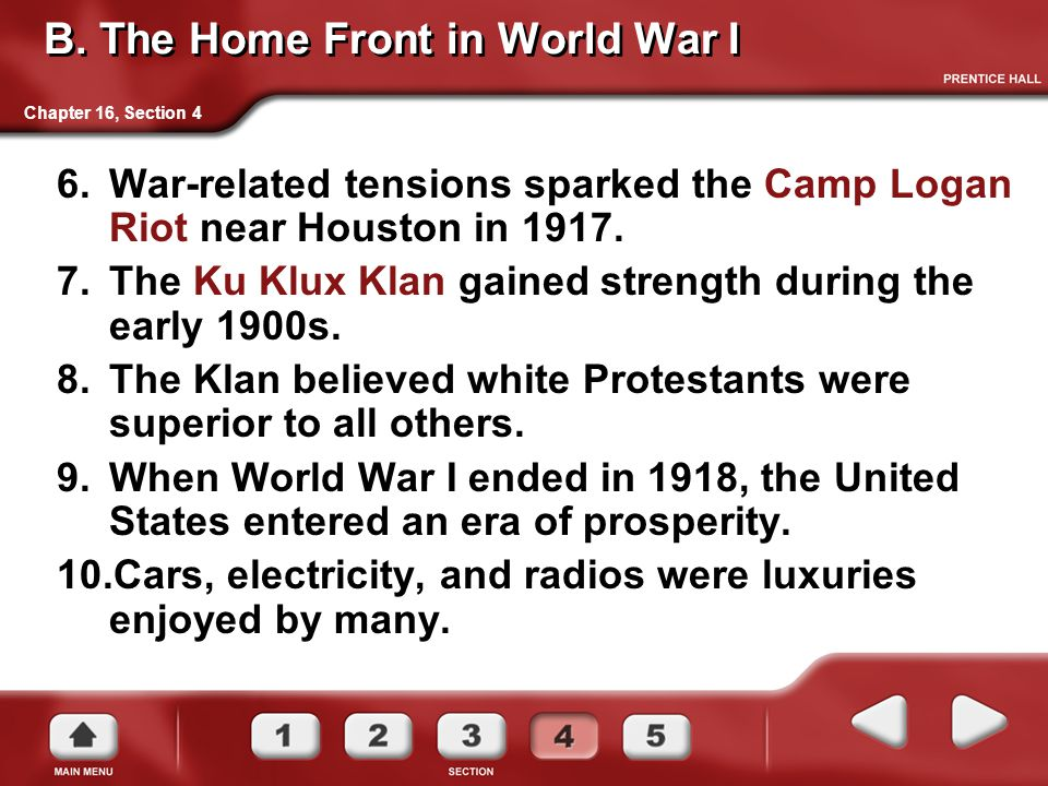 B. The Home Front in World War I