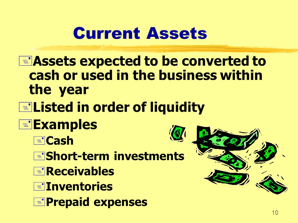 Current Assets Assets expected to be converted to cash or used in the business within the year. Listed in order of liquidity.