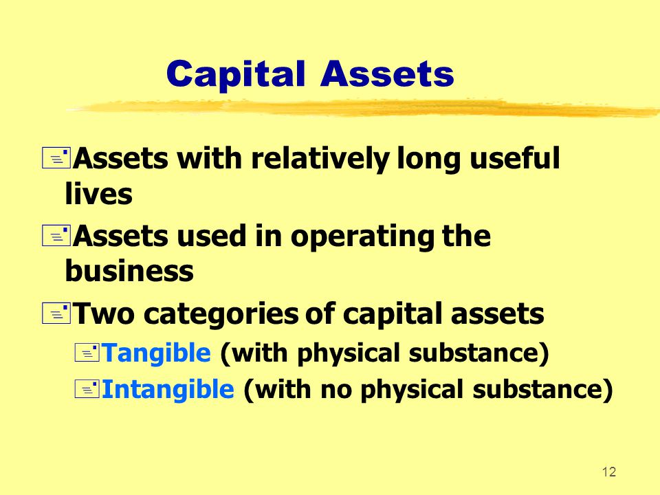 Capital Assets Assets with relatively long useful lives