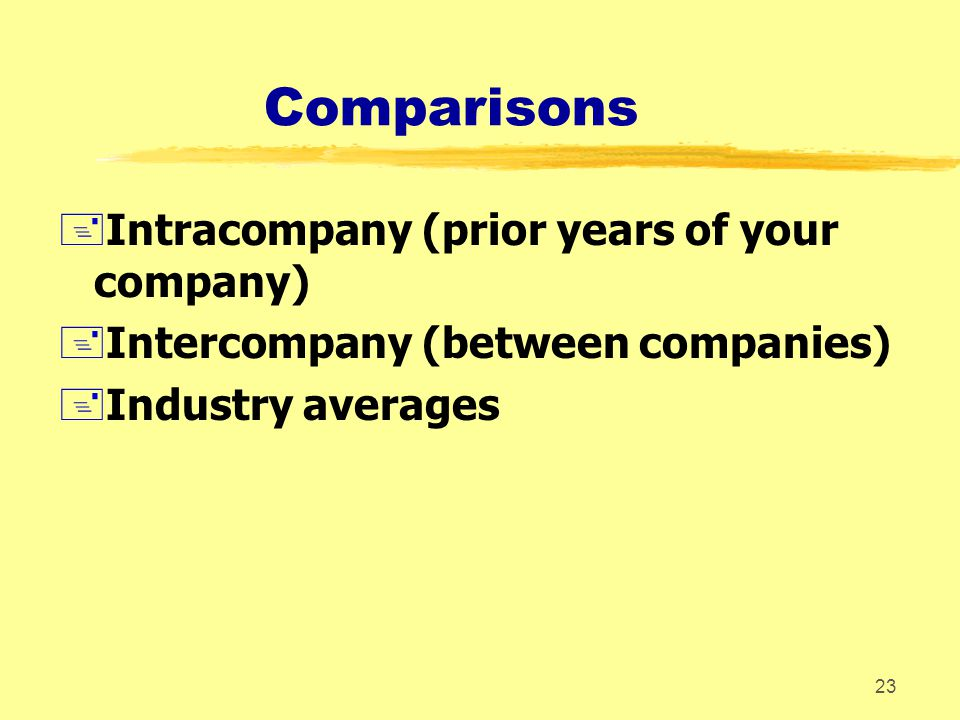 Comparisons Intracompany (prior years of your company)