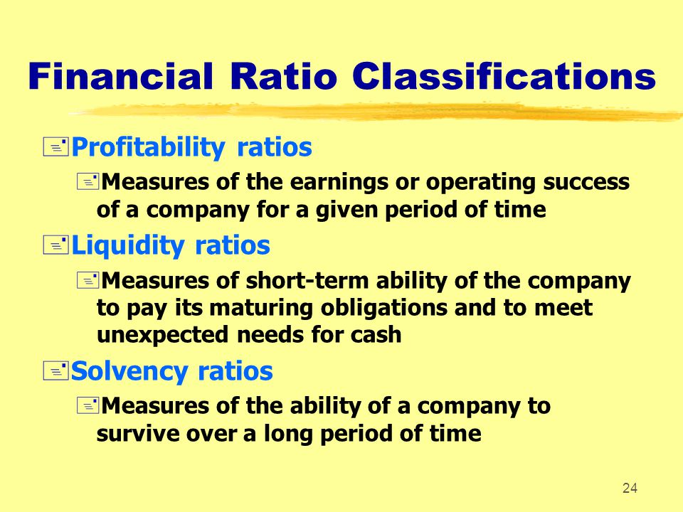 Financial Ratio Classifications