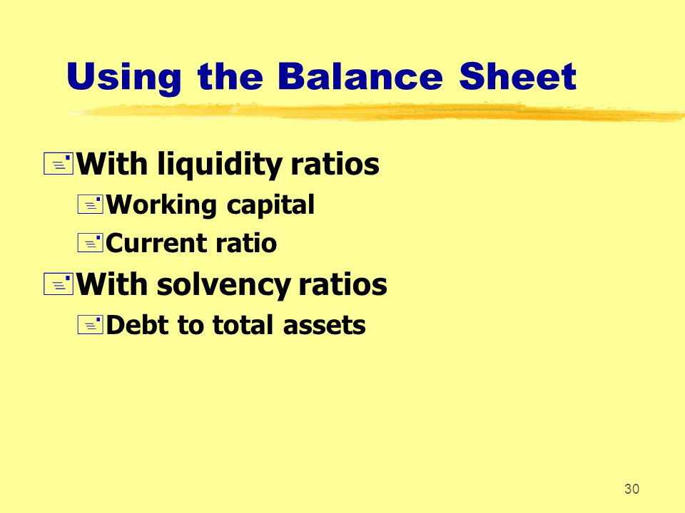Using the Balance Sheet