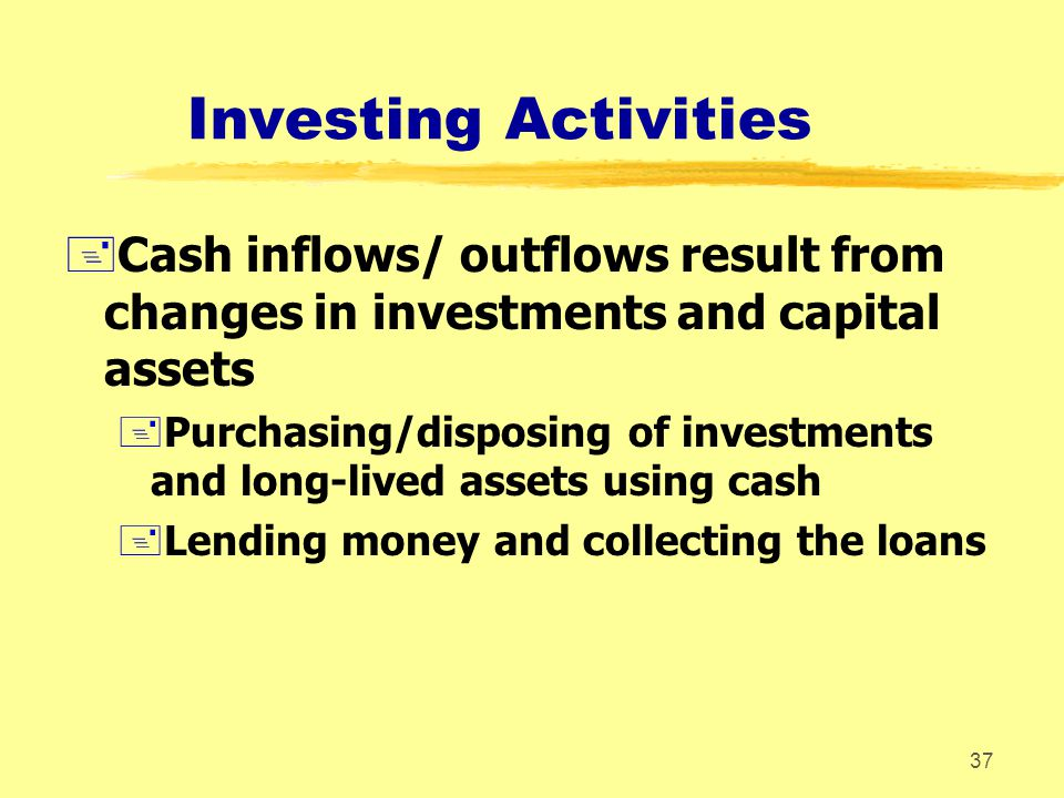 Investing Activities Cash inflows/ outflows result from changes in investments and capital assets.