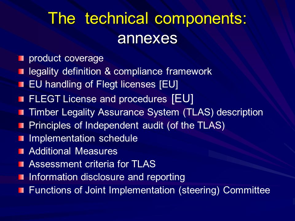 The technical components: annexes