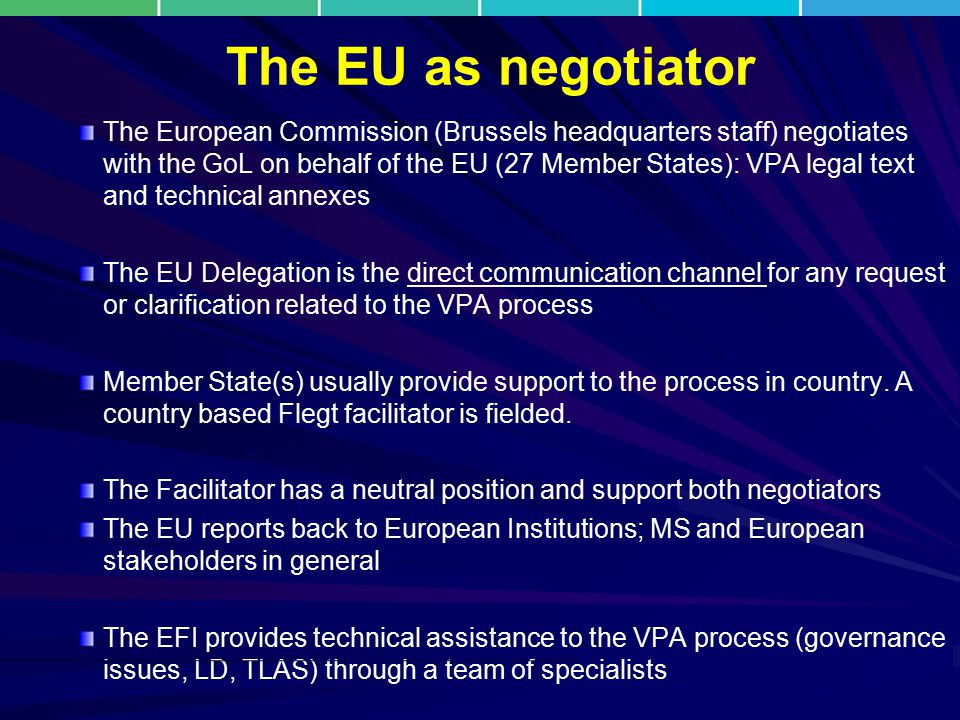 The EU as negotiator