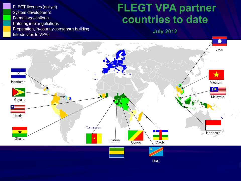 FLEGT VPA partner countries to date