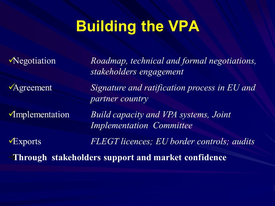 Building the VPA Negotiation Roadmap, technical and formal negotiations, stakeholders engagement.