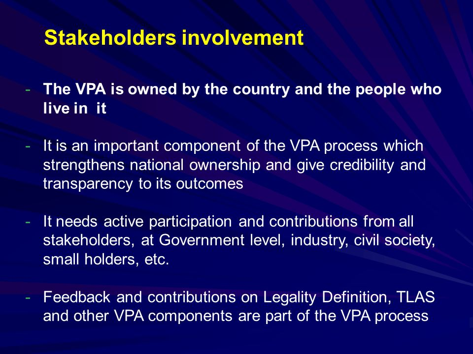 Stakeholders involvement