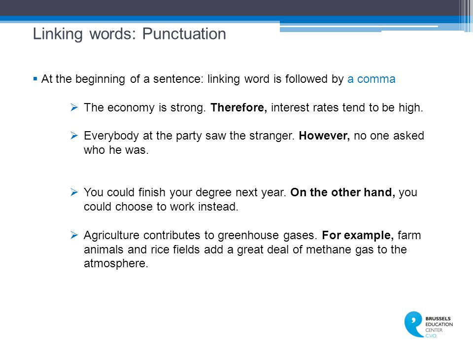 Linking words: Punctuation