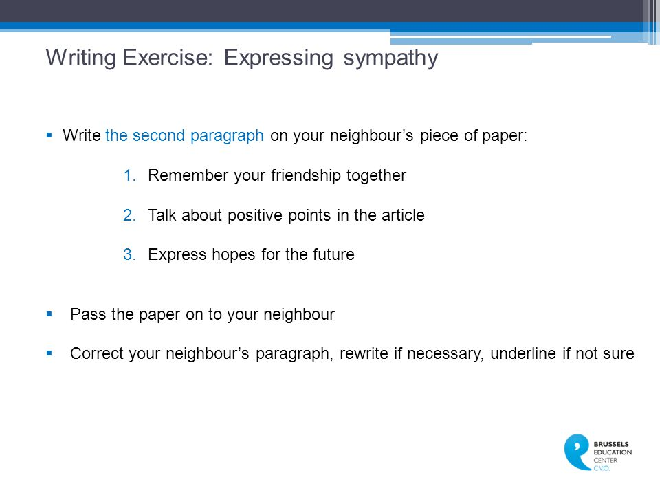 Writing Exercise: Expressing sympathy
