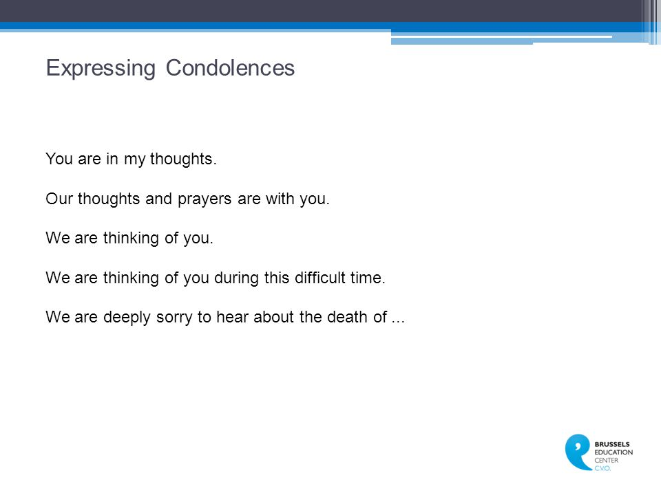 Expressing Condolences