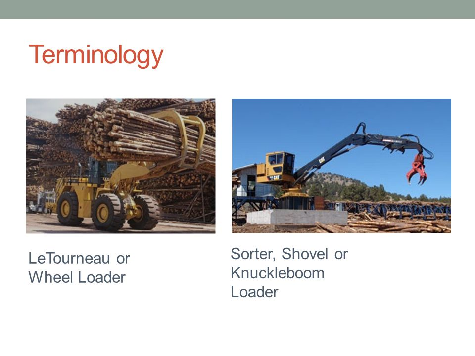 Terminology Sorter, Shovel or LeTourneau or Knuckleboom Loader