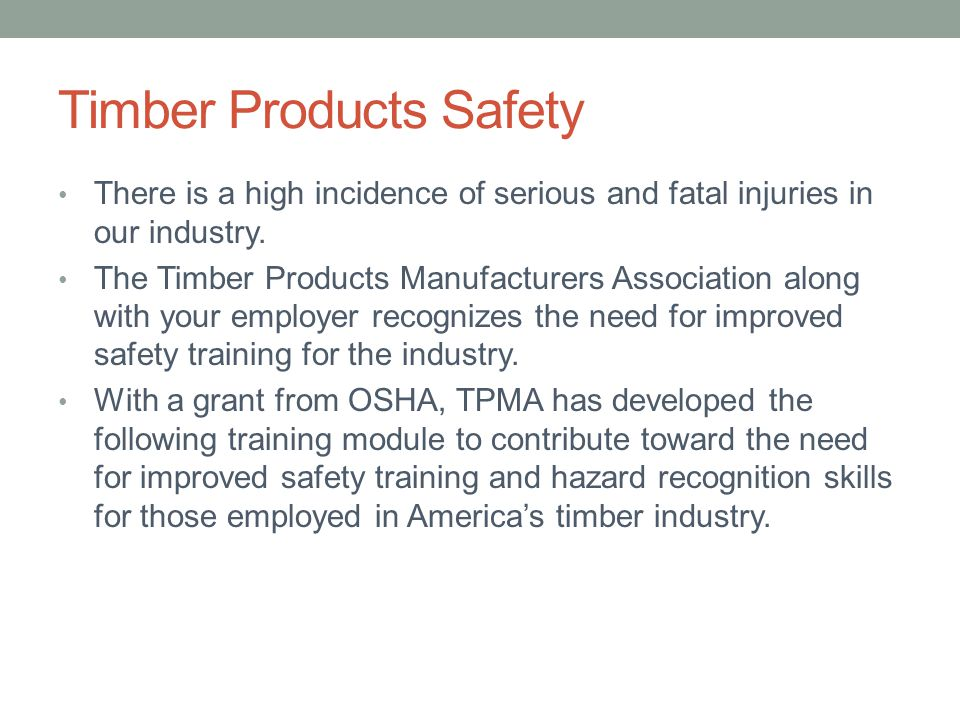 Timber Products Safety