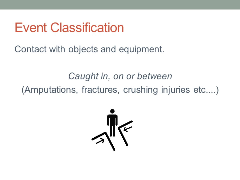 Event Classification Contact with objects and equipment. Caught in, on or between (Amputations, fractures, crushing injuries etc....)