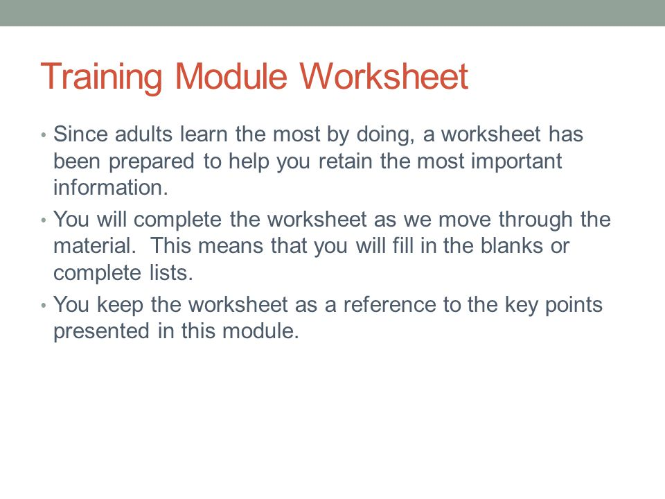 Training Module Worksheet