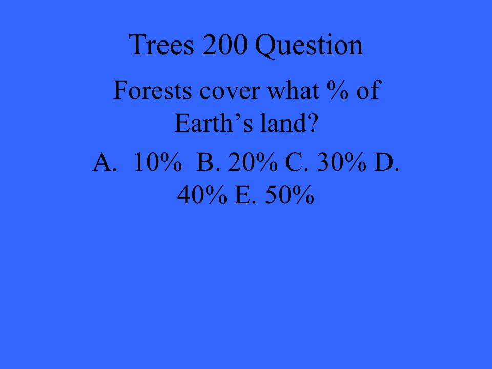 Forests cover what % of Earth's land