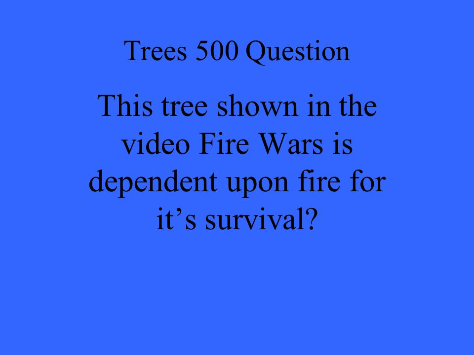 Trees 500 Question This tree shown in the video Fire Wars is dependent upon fire for it's survival