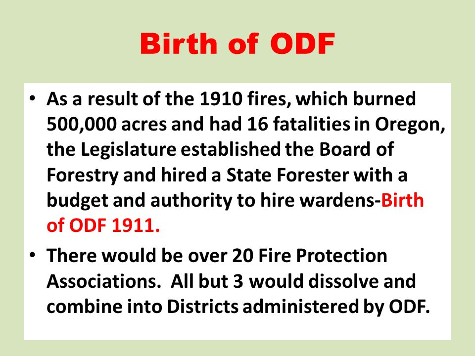Birth of ODF