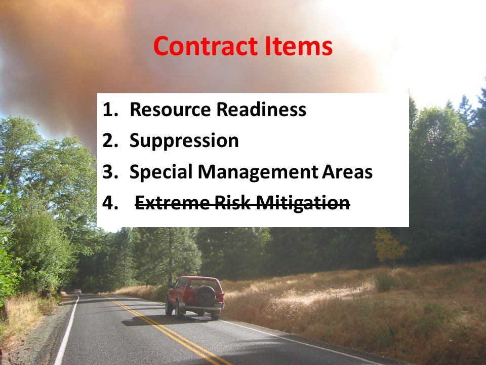Contract Items Resource Readiness Suppression Special Management Areas