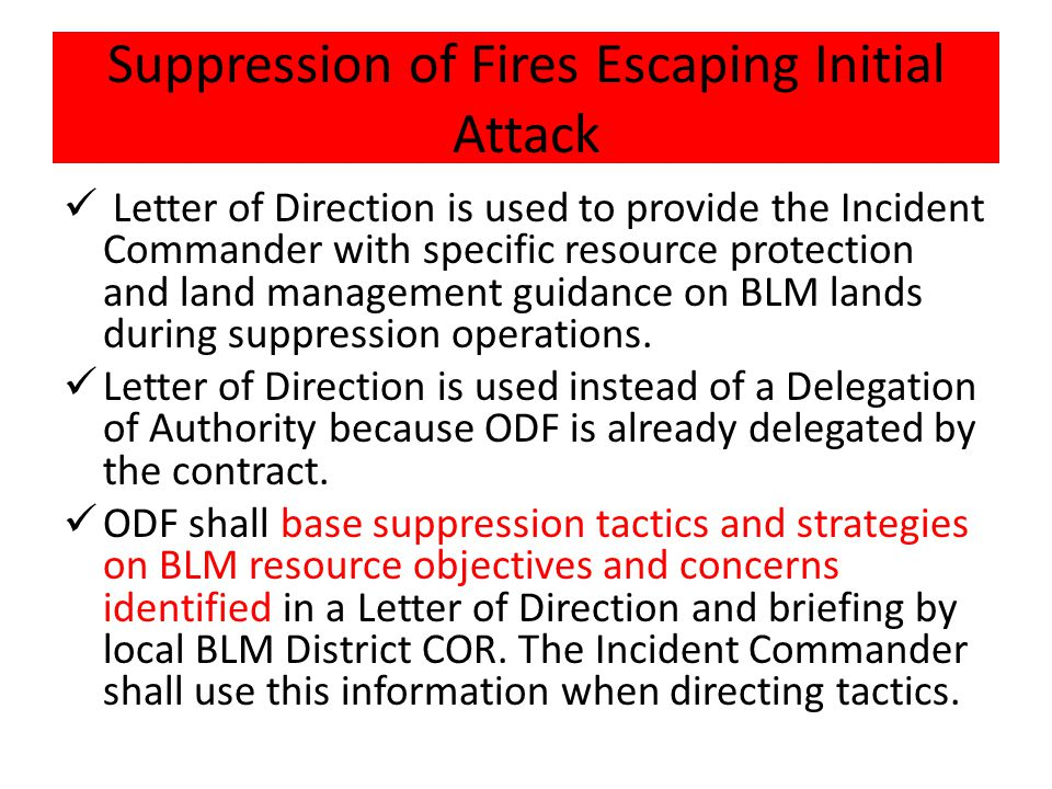 Suppression of Fires Escaping Initial Attack