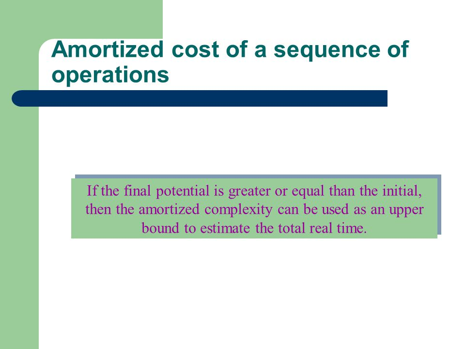 Amortized cost of a sequence of operations