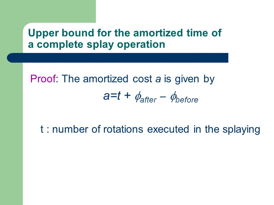 Upper bound for the amortized time of a complete splay operation
